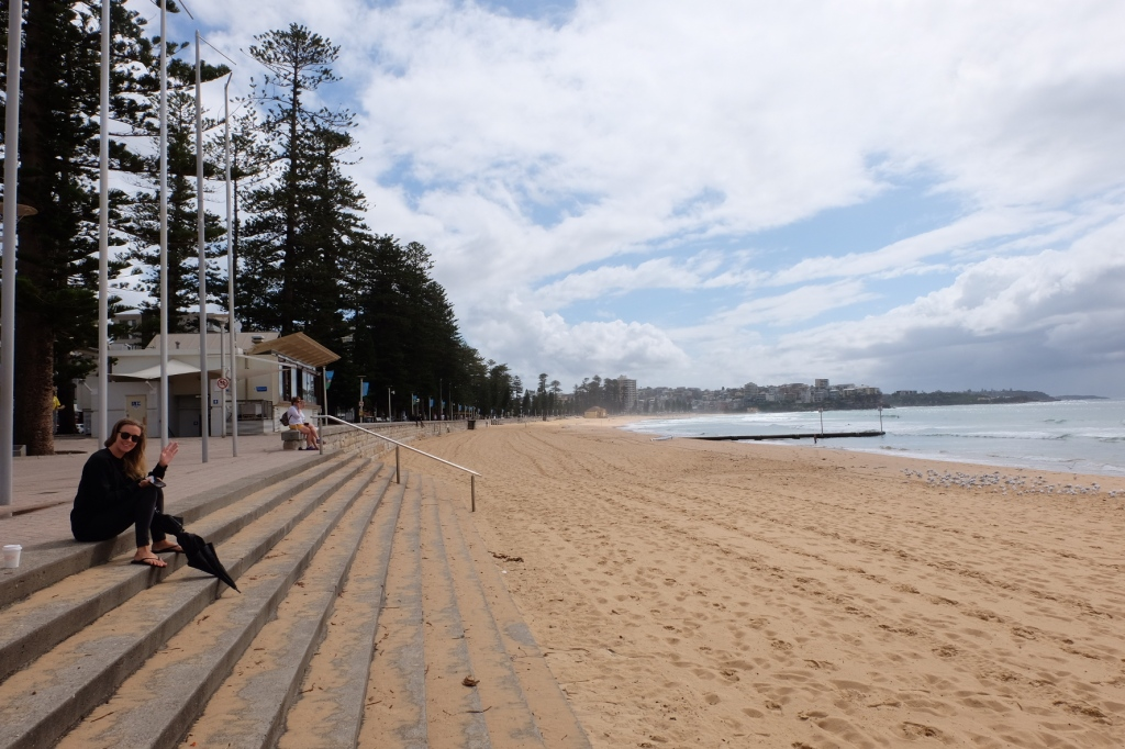 A photograph of Manly beach,empty because of the social distancing regulations enforced recently