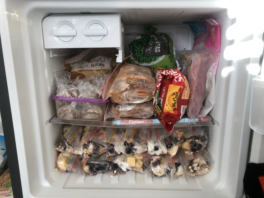A freezer full of prepared meals